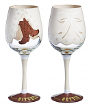 Getting Hitched Hand Painted Wine Glass by Evergreen