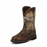 Men's Rugged Tan Cowhide Stampede Waterproof Boot by Justin Original Workboots