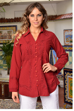 Women's Long Sleeve Extended Hem Blouse in Wine by Peruvian Perfection