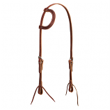Brown Latigo Leather Flat Sliding Ear Headstall by Weaver