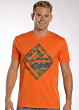 Men's Orange with Camo Logo Short Sleeve Tee by Rock and Roll Cowboy
