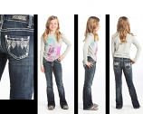 Girl's Bootcut Jean with Falling Aztec Design by Rock and Roll Cowgirl