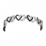Crystal and Black Double Heart Link Bracelet by Montana Silversmiths