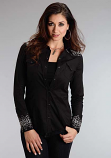 Women's Black Western Snap Shirt with Aztec Embroidery by Stetson