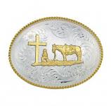 Christian Cowboy Western Belt Buckle by Montana Silversmiths