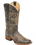 Women's Distressed Diamond Embroidered Square Toe Boot by Circle G