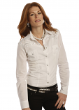 Women's Long Sleeve Solid White Shirt With Embroidery by Panhandle Slim