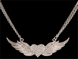 Silver Strike Angel Wing Heart Necklace By 3D Belt Co.
