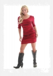 Dark Red Fitted Ladies Cowgirl Tuff Dress