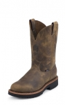 Men's Pull-On Rugged Tan Work Boot by Justin Boots