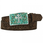 Women's Cross Scroll Belt with Turquoise Stone Buckle by Nocona Belts