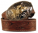 Kid's Floral Patterned Tooled Leather Belt by Nocona