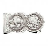 Buffalo Indian Nickel Scalloped Money Clip by Montana Silversmiths