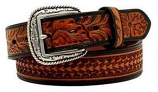 Men's Floral Tooled Leather Belt by Ariat