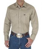 Men's Firm Finish Long Sleeve Work Western Shirt by Wrangler