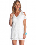 Women's Ivory Cold Shoulder Lace Dress by Wrangler