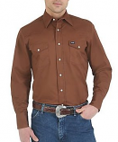 Men's Premium Performance Advanced Comfort Cowboy Cut Long Sleeve Shirt in Brown by Wrangler