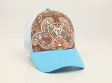 Women's Brown Paisley Ariat Ball Cap by M&F