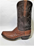 Men's Full Quill Ostrich Boots in Kango Tobacco by Black Jack