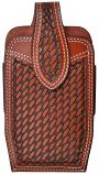 Large Tan Leather Basket Weave Smartphone Holder by 3D