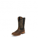 Kids Coyote Brown Bent Rail Square Toe Boot by Justin
