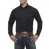 Men's Solid Black Poplin Long Sleeve Shirt by Ariat