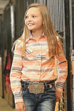Girl's Coral Aztec Stripe Pearl Snap Western Shirt by Cruel Girl