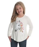 Girl's Long Sleeve Horse Graphic T-Shirt with Crochet Back by Wrangler