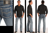 Men's Light Wash Pistol Fit Straight Leg Jeans by Rock and Roll Cowboy