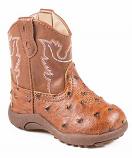 Newborn Ostrich Print Inside Zip Western Boots