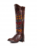 Women's Brown Volcano Aztec Embroidered Boot with Fringe by Johnny Ringo