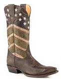 Men's Burnished Brown American Flag Boot by Roper Boots
