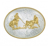 Large Silver Engraved Western Belt Buckle with Team Ropers by Montana Silversmiths