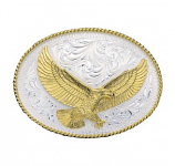 Silver Engraved Western Belt Buckle with Large Eagle by Montana Silversmiths