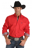 Men's Red Long Sleeve Shirt With Contrast Cuff and Collar by Cinch
