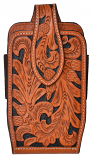 Large Natural Hand Tooled Leather Smartphone Holder by 3D