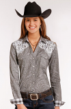 Women's Gray and White Rough Stock Long Sleeve Shirt by Panhandle Slim