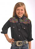 Girl's Black and Multi Color Aztec Snap Shirt by Panhandle