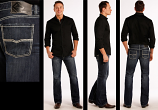Men's Dark Wash Pistol Straight Leg Jeans by Rock and Roll Cowboy