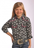 Girl's Black and Pink Paisley Snap Shirt by Panhandle