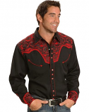Men's Classic Long Sleeve Western Black and Red Embroidered Shirt by Scully