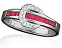 Red Channel Buckle Ring by Kelly Herd