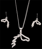 Crystal Horse Earring & Necklace Set By 3D Belt Co.