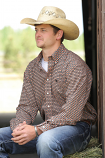 Men's Long Sleeve Coral and Black Print Button Down Shirt by Cinch