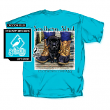Women's Southern Strut Puppy with Boots Short Sleeve T-Shirt by Red Horse Screen Printing