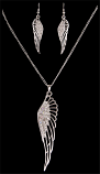 Crystal Angel Wing Earring & Necklace Set By 3D Belt Co.