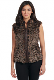 Women's Leopard Faux Fur Zip Front Vest by Cripple Creek