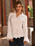 Women's Embroidered Victorian Lace Button Down Top in White by Inca Cottons