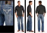 Men's Double Barrel Relaxed Jean Straight Leg Medium Wash w/ V Pocket by Rock & Roll Cowboy