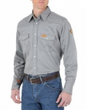 Men's FR Riggs Solid Workwear Button Down Shirt in Grey by Wrangler